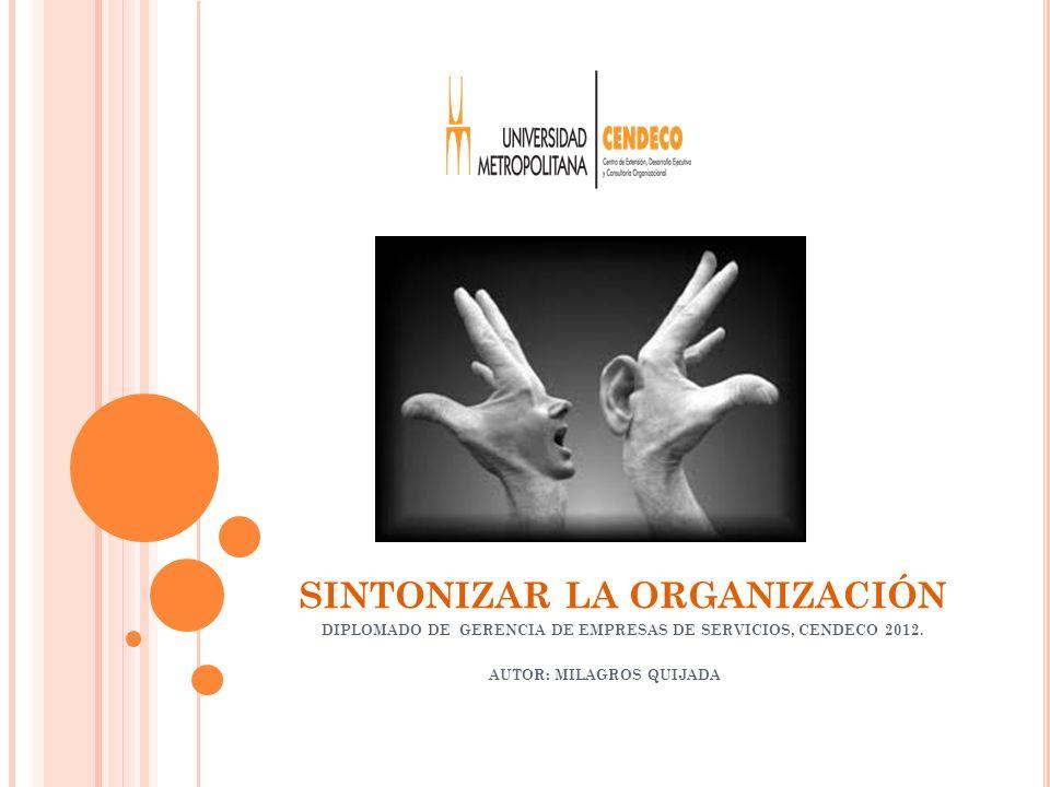 SINTONIZAR LA ORGANIZACIÓN DIPLOMADO DE GERENCIA DE EMPRESAS DE SERVICIOS, CENDECO 2012.