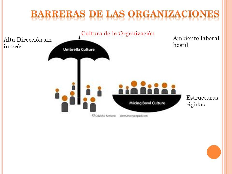 Ambiente laboral hostil Alta Dirección sin interés Estructuras rígidas Cultura de la Organización