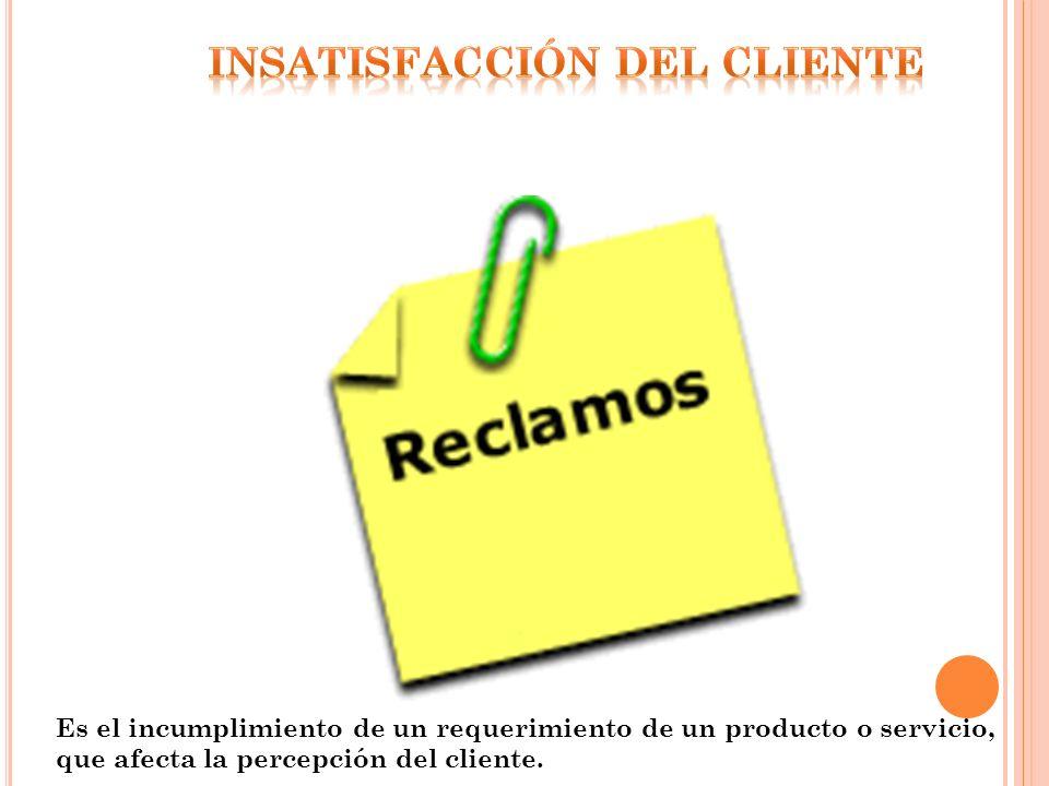 Es el incumplimiento de un requerimiento de un producto o servicio, que afecta la percepción del cliente.