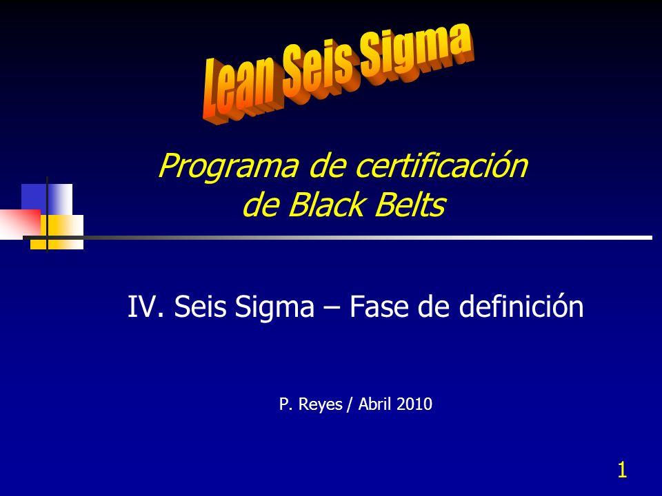 1 Programa de certificación de Black Belts IV. Seis Sigma – Fase de definición P. Reyes / Abril 2010