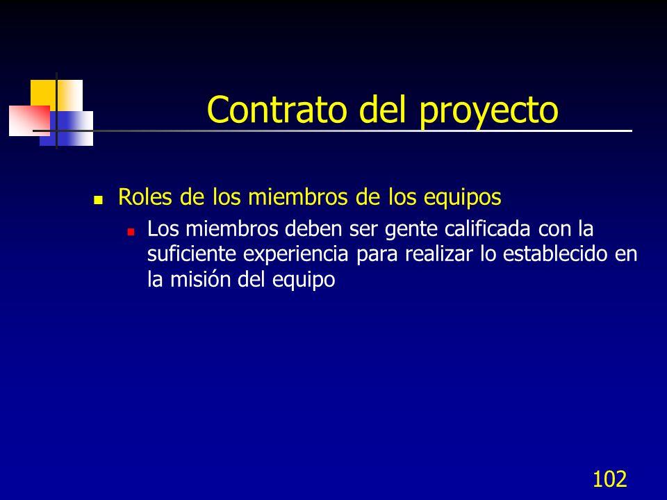 102 Contrato del proyecto Roles de los miembros de los equipos Los miembros deben ser gente calificada con la suficiente experiencia para realizar lo establecido en la misión del equipo