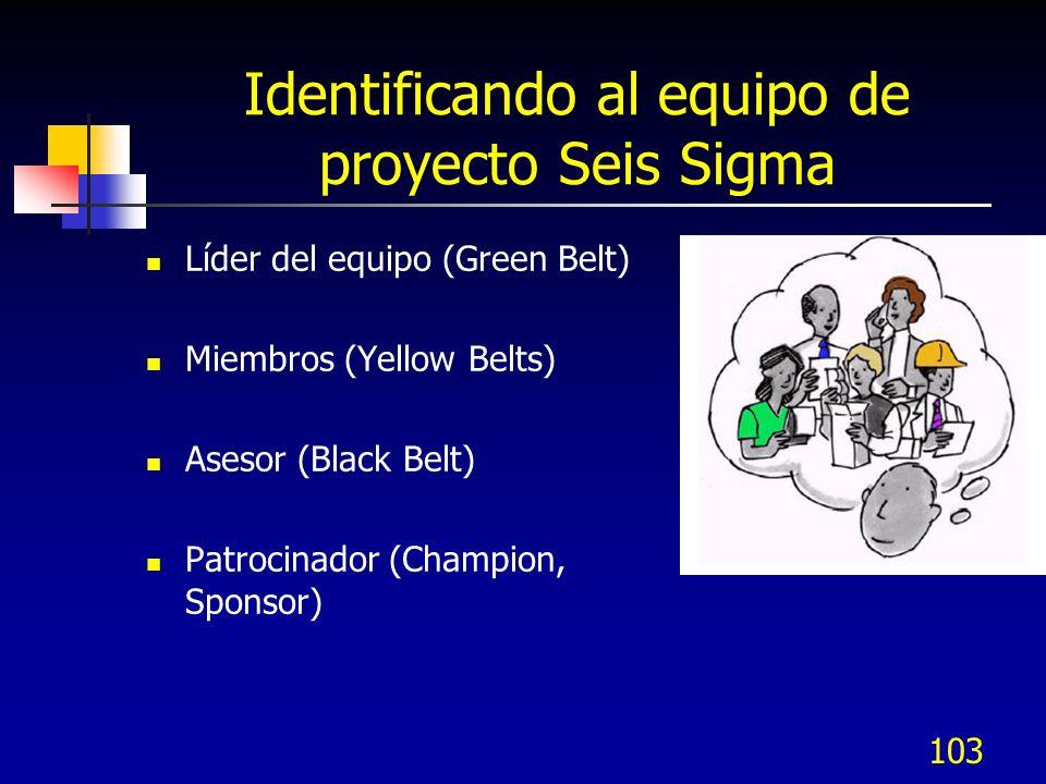 103 Identificando al equipo de proyecto Seis Sigma Líder del equipo (Green Belt) Miembros (Yellow Belts) Asesor (Black Belt) Patrocinador (Champion, Sponsor)