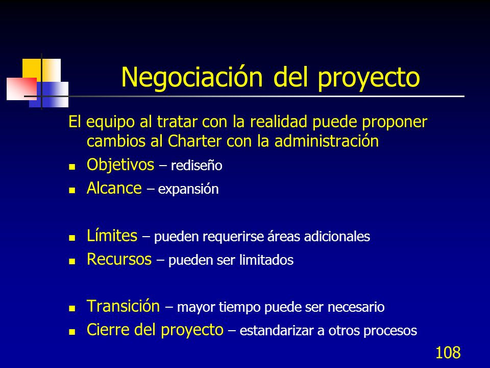 Negociación del proyecto El equipo al tratar con la realidad puede proponer cambios al Charter con la administración Objetivos – rediseño Alcance – ex