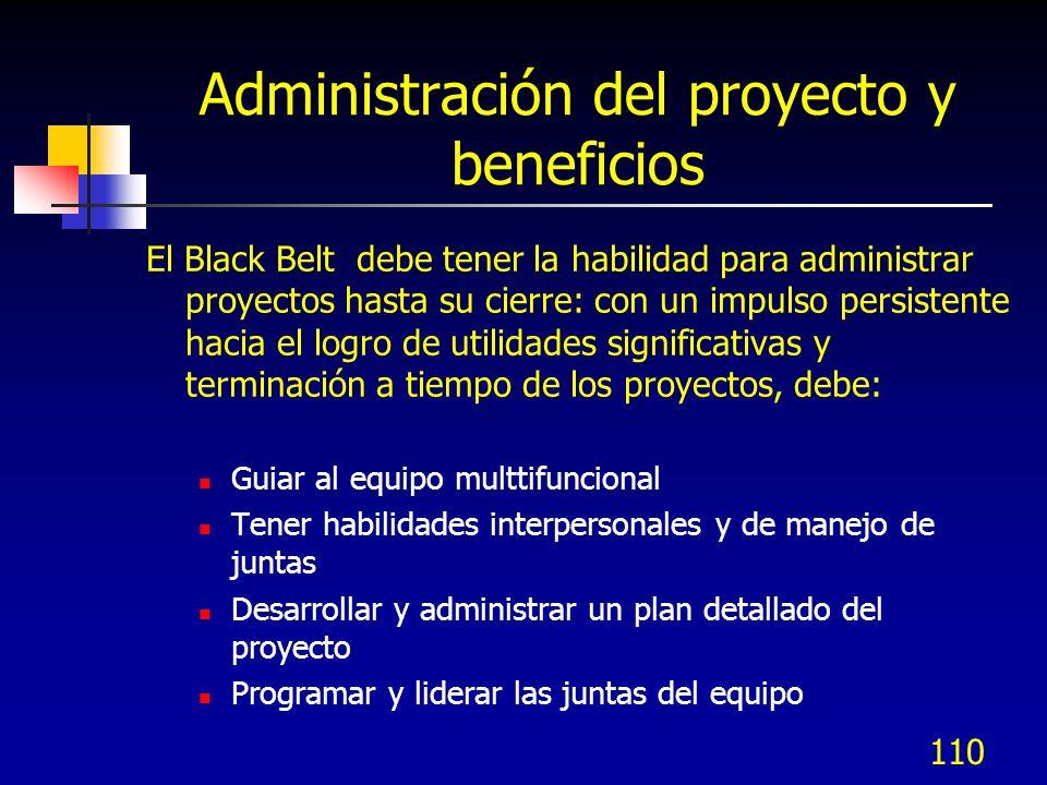 Administración del proyecto y beneficios El Black Belt debe tener la habilidad para administrar proyectos hasta su cierre: con un impulso persistente