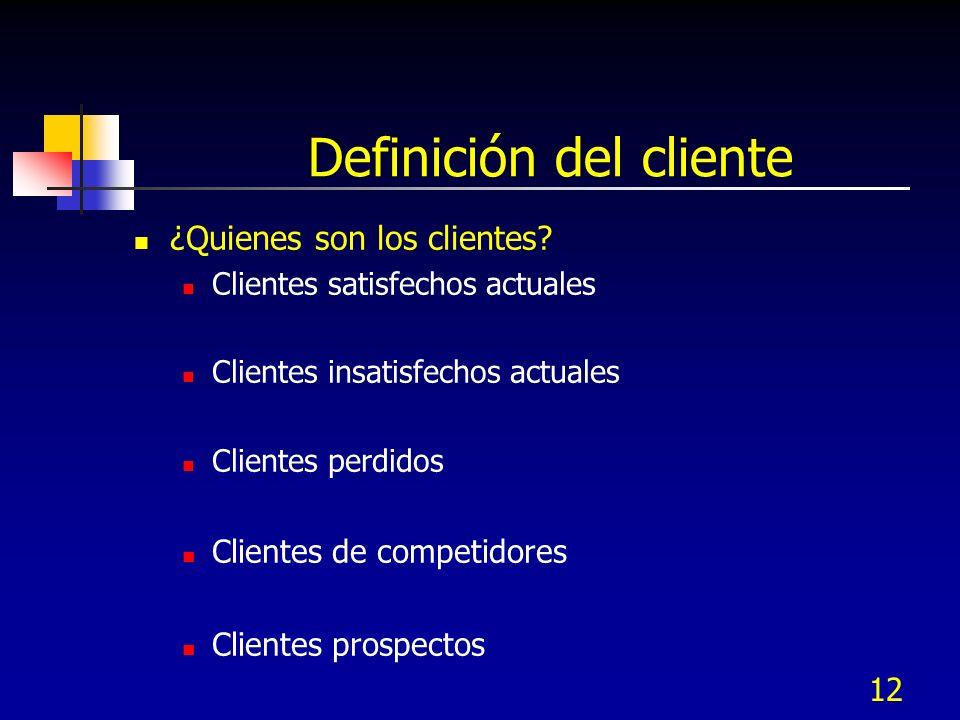 12 Definición del cliente ¿Quienes son los clientes? Clientes satisfechos actuales Clientes insatisfechos actuales Clientes perdidos Clientes de compe