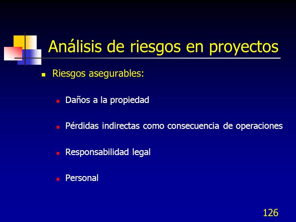 126 Análisis de riesgos en proyectos Riesgos asegurables: Daños a la propiedad Pérdidas indirectas como consecuencia de operaciones Responsabilidad legal Personal