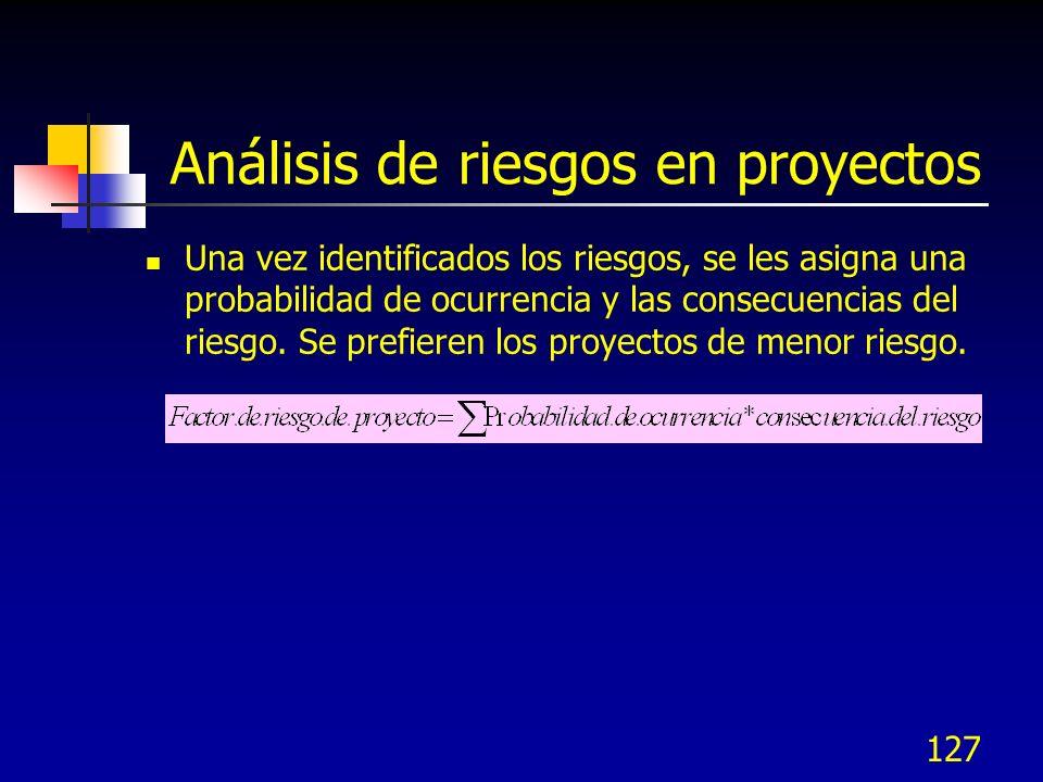 127 Análisis de riesgos en proyectos Una vez identificados los riesgos, se les asigna una probabilidad de ocurrencia y las consecuencias del riesgo.