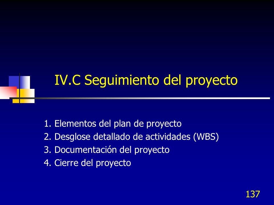 IV.C Seguimiento del proyecto 1. Elementos del plan de proyecto 2. Desglose detallado de actividades (WBS) 3. Documentación del proyecto 4. Cierre del
