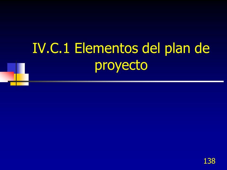 IV.C.1 Elementos del plan de proyecto 138