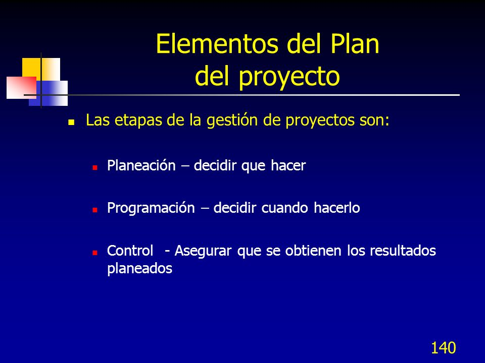 140 Elementos del Plan del proyecto Las etapas de la gestión de proyectos son: Planeación – decidir que hacer Programación – decidir cuando hacerlo Control - Asegurar que se obtienen los resultados planeados