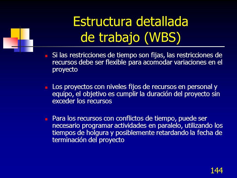 144 Estructura detallada de trabajo (WBS) Si las restricciones de tiempo son fijas, las restricciones de recursos debe ser flexible para acomodar vari