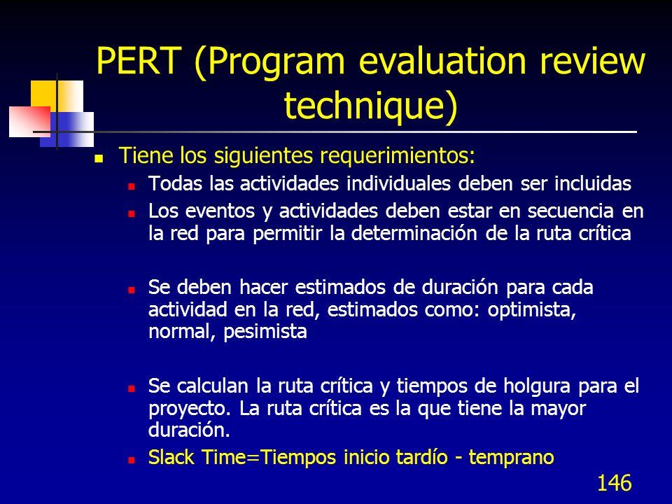 146 PERT (Program evaluation review technique) Tiene los siguientes requerimientos: Todas las actividades individuales deben ser incluidas Los eventos