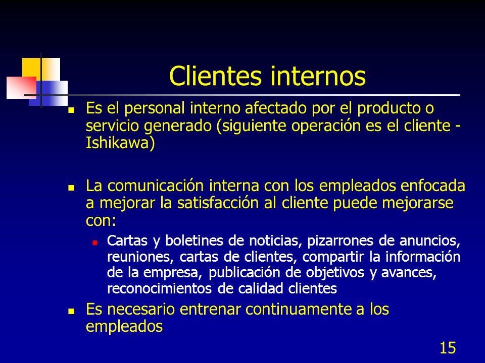 15 Clientes internos Es el personal interno afectado por el producto o servicio generado (siguiente operación es el cliente - Ishikawa) La comunicació