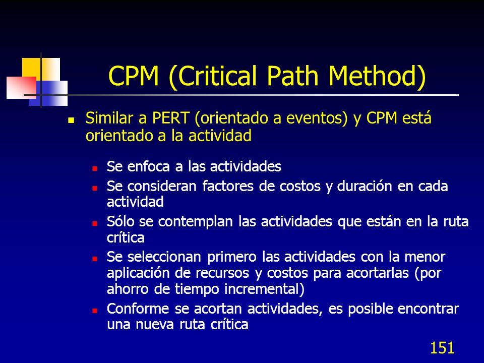 151 CPM (Critical Path Method) Similar a PERT (orientado a eventos) y CPM está orientado a la actividad Se enfoca a las actividades Se consideran factores de costos y duración en cada actividad Sólo se contemplan las actividades que están en la ruta crítica Se seleccionan primero las actividades con la menor aplicación de recursos y costos para acortarlas (por ahorro de tiempo incremental) Conforme se acortan actividades, es posible encontrar una nueva ruta crítica