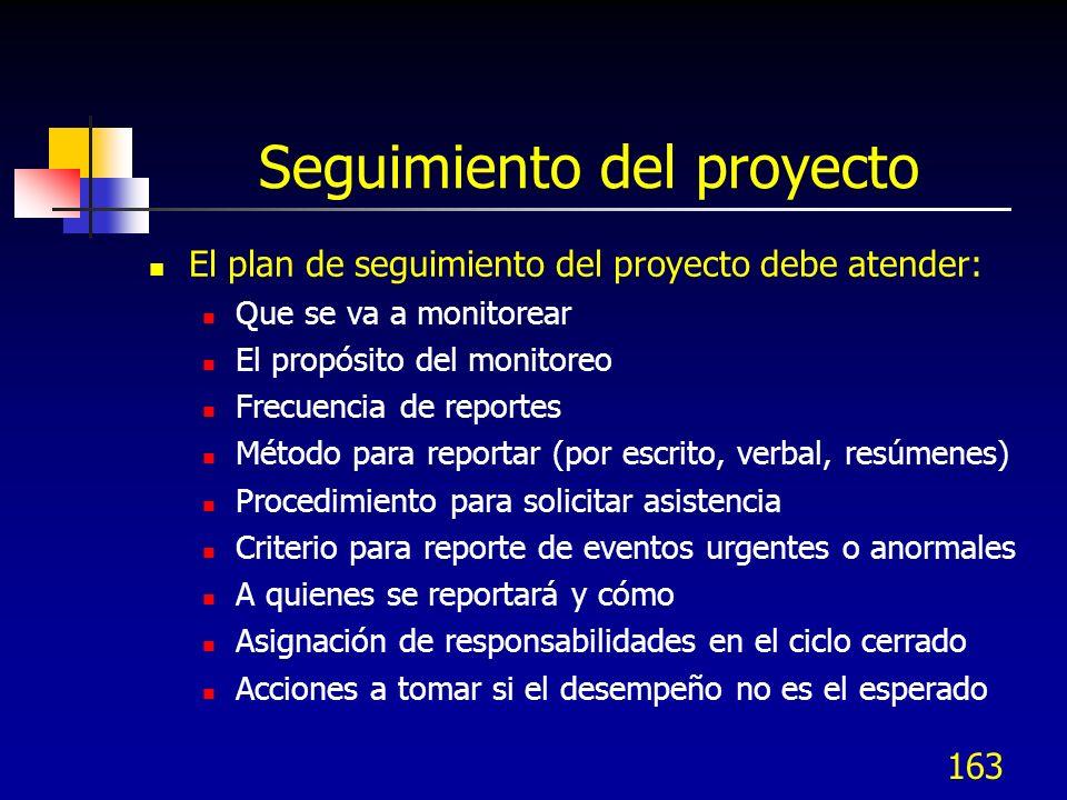 163 Seguimiento del proyecto El plan de seguimiento del proyecto debe atender: Que se va a monitorear El propósito del monitoreo Frecuencia de reporte