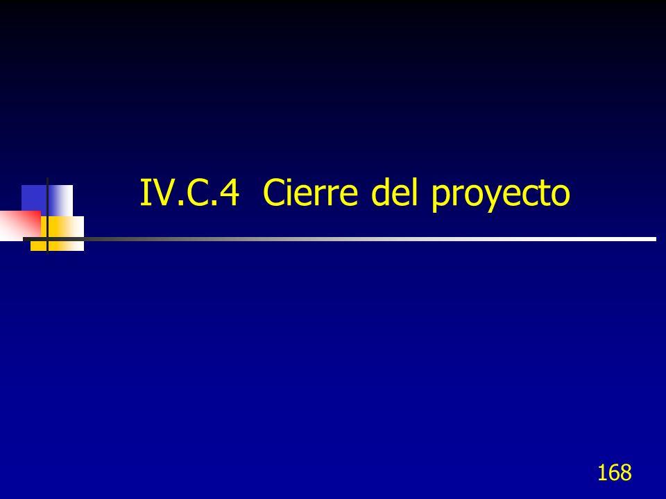 168 IV.C.4 Cierre del proyecto