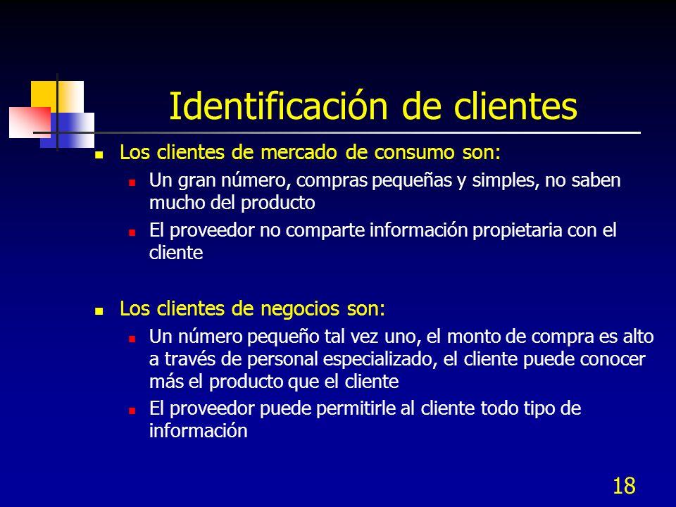 18 Identificación de clientes Los clientes de mercado de consumo son: Un gran número, compras pequeñas y simples, no saben mucho del producto El prove