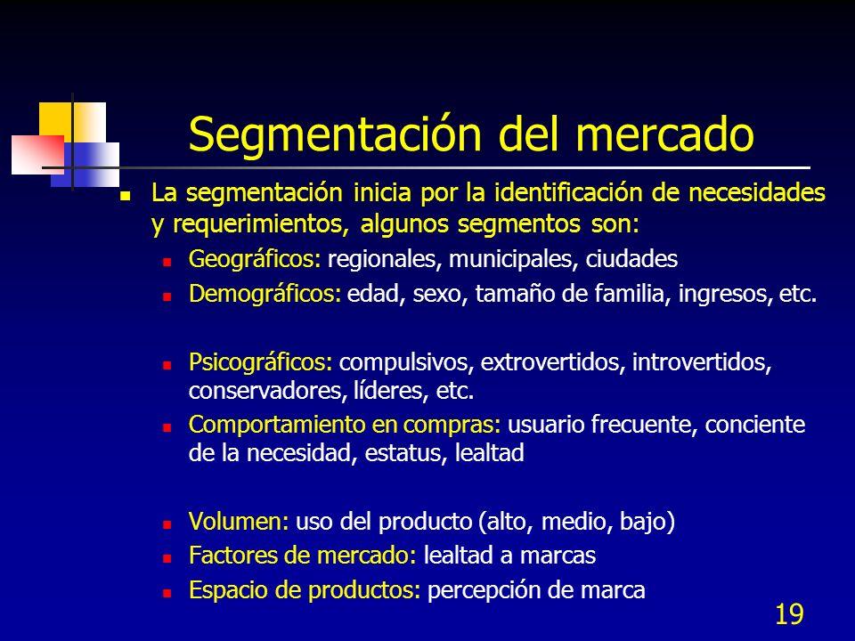 19 Segmentación del mercado La segmentación inicia por la identificación de necesidades y requerimientos, algunos segmentos son: Geográficos: regionales, municipales, ciudades Demográficos: edad, sexo, tamaño de familia, ingresos, etc.