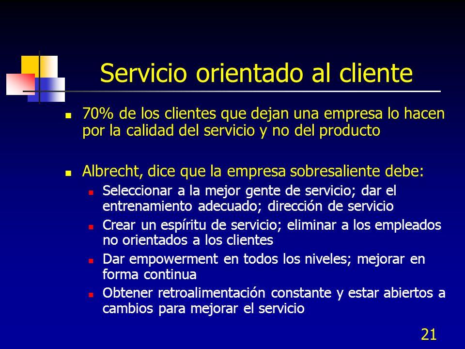 21 Servicio orientado al cliente 70% de los clientes que dejan una empresa lo hacen por la calidad del servicio y no del producto Albrecht, dice que l