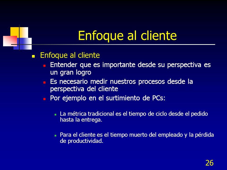 26 Enfoque al cliente Entender que es importante desde su perspectiva es un gran logro Es necesario medir nuestros procesos desde la perspectiva del c