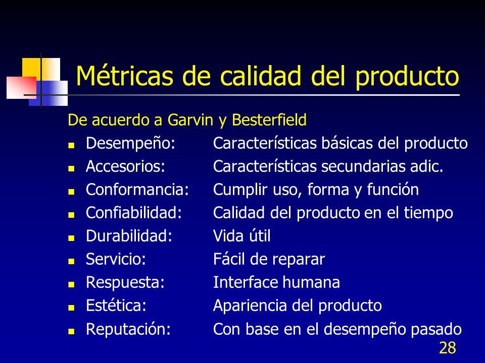 Métricas de calidad del producto De acuerdo a Garvin y Besterfield Desempeño:Características básicas del producto Accesorios:Características secundarias adic.