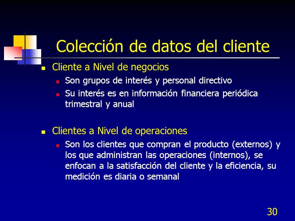 30 Colección de datos del cliente Cliente a Nivel de negocios Son grupos de interés y personal directivo Su interés es en información financiera perió
