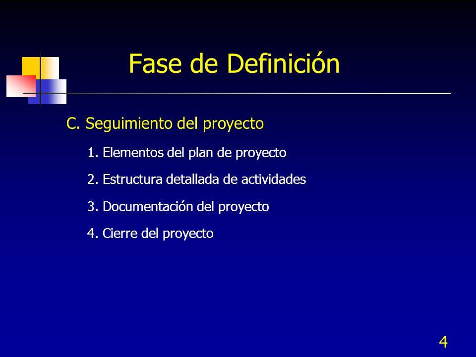 4 Fase de Definición C. Seguimiento del proyecto 1. Elementos del plan de proyecto 2. Estructura detallada de actividades 3. Documentación del proyect