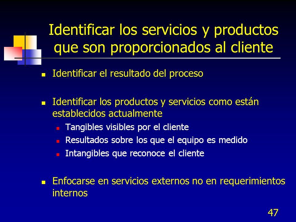 47 Identificar los servicios y productos que son proporcionados al cliente Identificar el resultado del proceso Identificar los productos y servicios como están establecidos actualmente Tangibles visibles por el cliente Resultados sobre los que el equipo es medido Intangibles que reconoce el cliente Enfocarse en servicios externos no en requerimientos internos