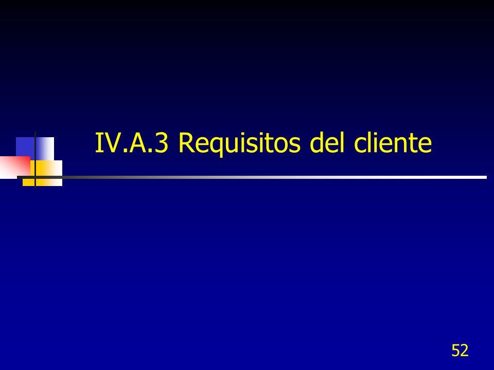 52 IV.A.3 Requisitos del cliente