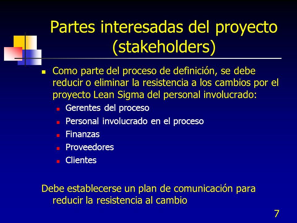 Partes interesadas del proyecto (stakeholders) Como parte del proceso de definición, se debe reducir o eliminar la resistencia a los cambios por el pr