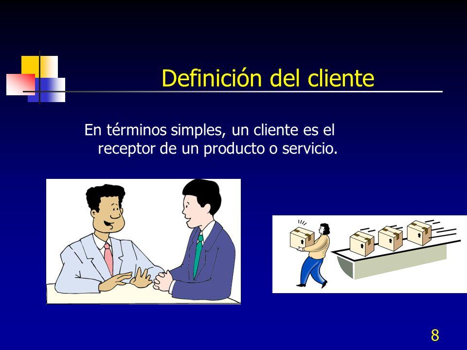 8 Definición del cliente En términos simples, un cliente es el receptor de un producto o servicio.