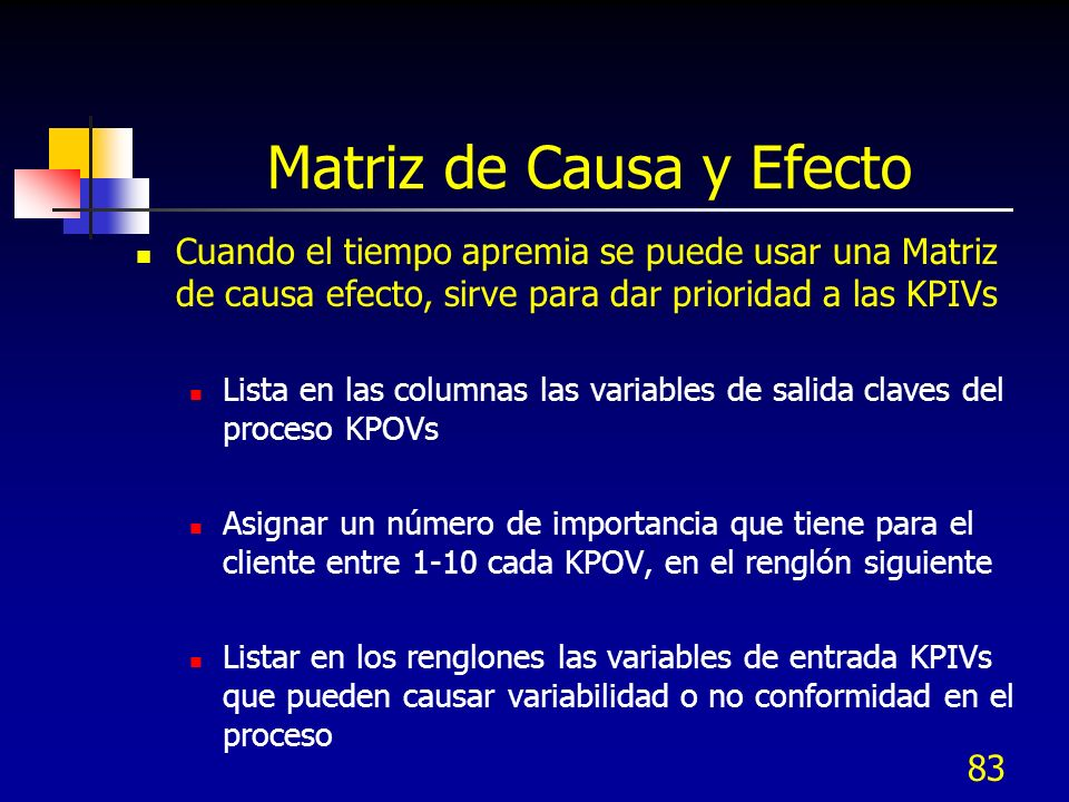 83 Matriz de Causa y Efecto Cuando el tiempo apremia se puede usar una Matriz de causa efecto, sirve para dar prioridad a las KPIVs Lista en las columnas las variables de salida claves del proceso KPOVs Asignar un número de importancia que tiene para el cliente entre 1-10 cada KPOV, en el renglón siguiente Listar en los renglones las variables de entrada KPIVs que pueden causar variabilidad o no conformidad en el proceso