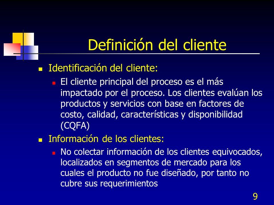 9 Definición del cliente Identificación del cliente: El cliente principal del proceso es el más impactado por el proceso. Los clientes evalúan los pro
