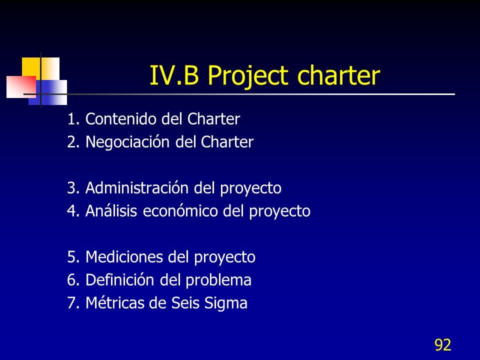 IV.B Project charter 1. Contenido del Charter 2. Negociación del Charter 3. Administración del proyecto 4. Análisis económico del proyecto 5. Medicion