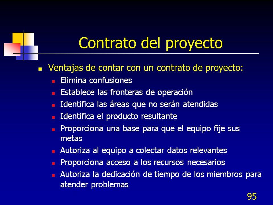 95 Contrato del proyecto Ventajas de contar con un contrato de proyecto: Elimina confusiones Establece las fronteras de operación Identifica las áreas