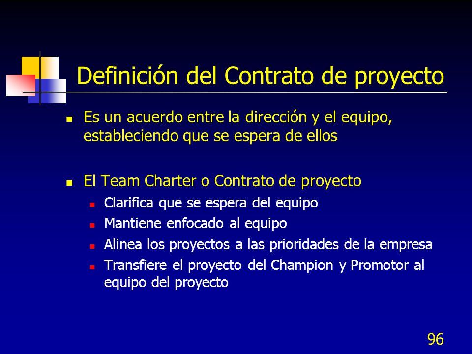 96 Definición del Contrato de proyecto Es un acuerdo entre la dirección y el equipo, estableciendo que se espera de ellos El Team Charter o Contrato de proyecto Clarifica que se espera del equipo Mantiene enfocado al equipo Alinea los proyectos a las prioridades de la empresa Transfiere el proyecto del Champion y Promotor al equipo del proyecto