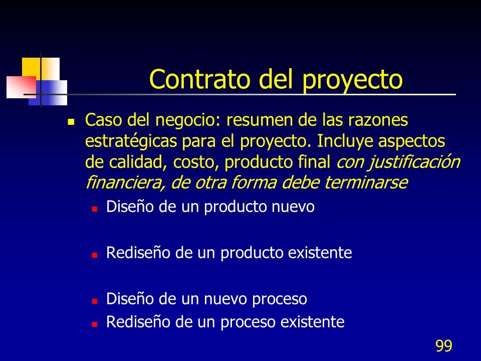 99 Contrato del proyecto Caso del negocio: resumen de las razones estratégicas para el proyecto. Incluye aspectos de calidad, costo, producto final co