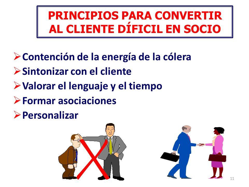 11 PRINCIPIOS PARA CONVERTIR AL CLIENTE DÍFICIL EN SOCIO Contención de la energía de la cólera Sintonizar con el cliente Valorar el lenguaje y el tiem