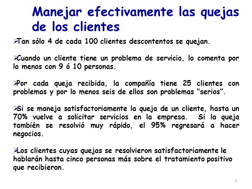 2 Manejar efectivamente las quejas de los clientes Tan sólo 4 de cada 100 clientes descontentos se quejan. Cuando un cliente tiene un problema de serv
