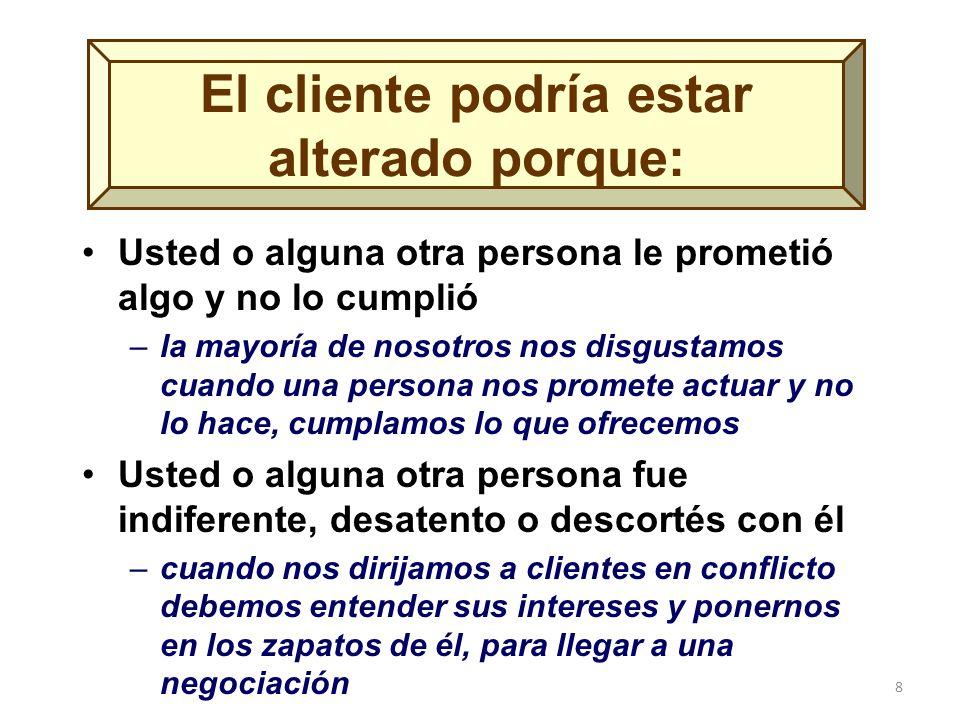 8 El cliente podría estar alterado porque: Usted o alguna otra persona le prometió algo y no lo cumplió –la mayoría de nosotros nos disgustamos cuando