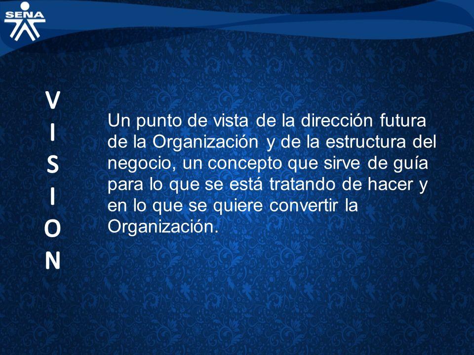 Un punto de vista de la dirección futura de la Organización y de la estructura del negocio, un concepto que sirve de guía para lo que se está tratando