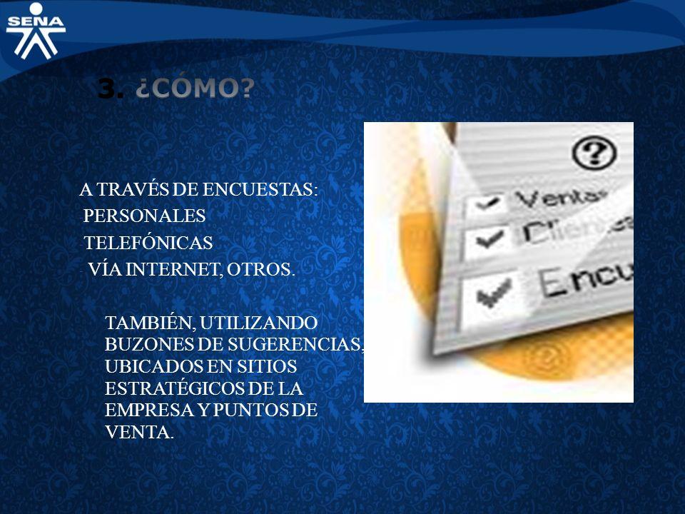 A TRAVÉS DE ENCUESTAS: - PERSONALES - TELEFÓNICAS - VÍA INTERNET, OTROS. TAMBIÉN, UTILIZANDO BUZONES DE SUGERENCIAS, UBICADOS EN SITIOS ESTRATÉGICOS D