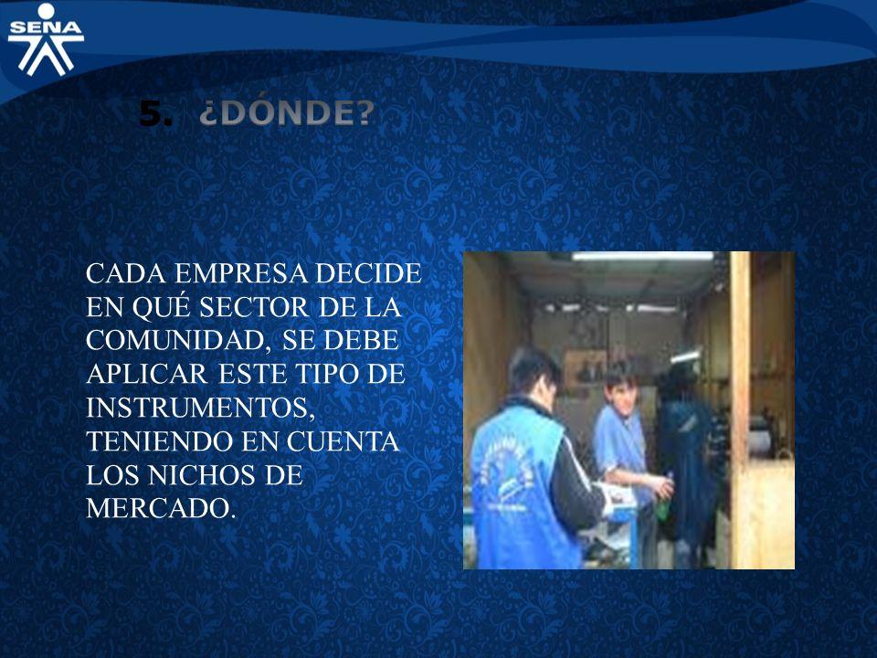 CADA EMPRESA DECIDE EN QUÉ SECTOR DE LA COMUNIDAD, SE DEBE APLICAR ESTE TIPO DE INSTRUMENTOS, TENIENDO EN CUENTA LOS NICHOS DE MERCADO.