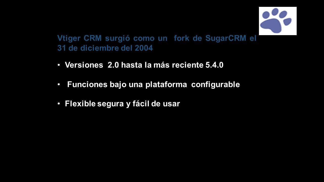 Vtiger CRM surgió como un fork de SugarCRM el 31 de diciembre del 2004 Versiones 2.0 hasta la más reciente 5.4.0 Funciones bajo una plataforma configu