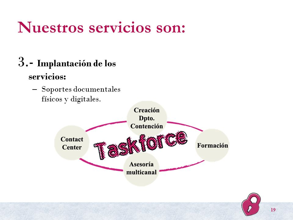 Nuestros servicios son: 3.- Implantación de los servicios: – Soportes documentales físicos y digitales. 19