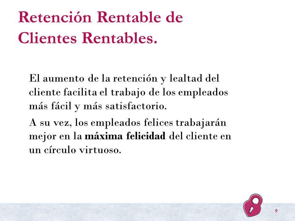 Retención Rentable de Clientes Rentables. El aumento de la retención y lealtad del cliente facilita el trabajo de los empleados más fácil y más satisf