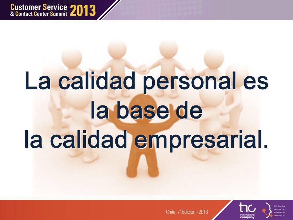 La calidad personal es la base de la calidad empresarial. La calidad personal es la base de la calidad empresarial.