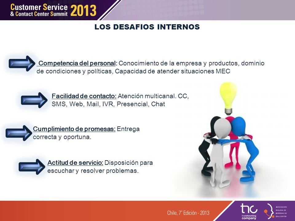 LOS DESAFIOS INTERNOS Facilidad de contacto: Atención multicanal. CC, SMS, Web, Mail, IVR, Presencial, Chat Cumplimiento de promesas: Entrega correcta