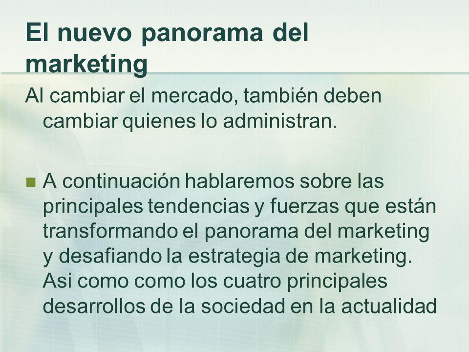 El nuevo panorama del marketing Al cambiar el mercado, también deben cambiar quienes lo administran. A continuación hablaremos sobre las principales t