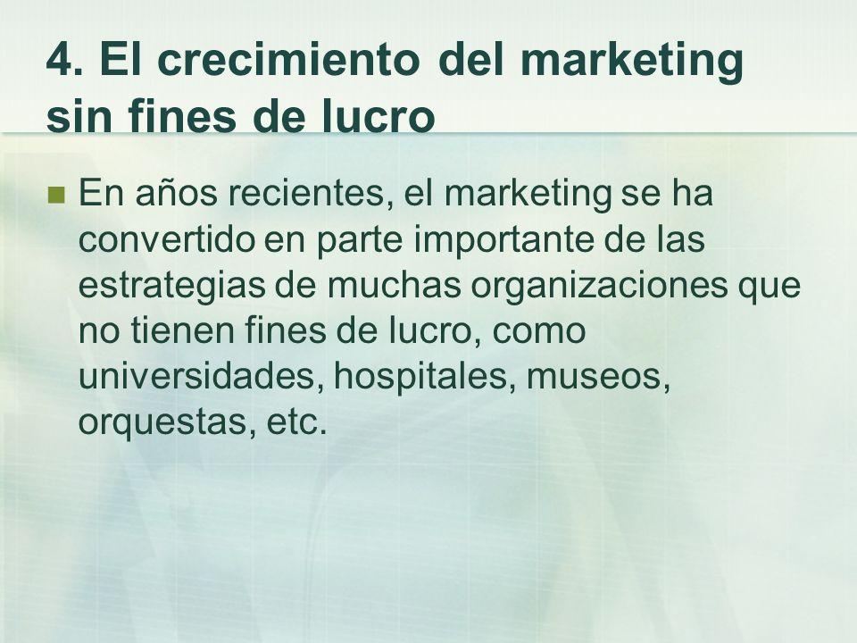 4. El crecimiento del marketing sin fines de lucro En años recientes, el marketing se ha convertido en parte importante de las estrategias de muchas o